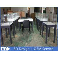 Quality Manufacturer supplier modern simple style wooden gray color museum exhibit cases with lights wholesale