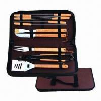 Quality Barbecue Set, Made of Stainless Steel/Wood, Includes 6pcs Skewers/1pc Fork/1pc Tong/1pc Spatula wholesale