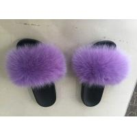 Quality Dyed Color Ladies Fluffy Slippers For Summer , Spring Cute Womens Slippers  wholesale