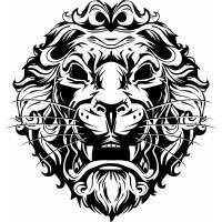 China Convert Raster Image To Vector Lion black and white print WFK10401 on sale