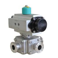 China Stainless Steel Pneumatic operated 3 way sanitary Non-Retention Ball Valve tri-clamped on sale