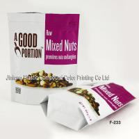 China Flexible Printed Vacuum Zipper Plastic Bag, Bottom Gusset Stand Up Pouches For Nuts on sale