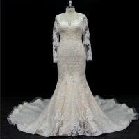 Cheap long sleeves customize made lace application bridal gown wedding dresses for sale