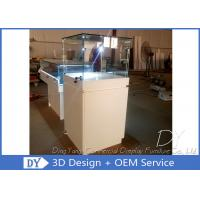 Quality Wood Square Glass Jewelry Display Case / Pedestal Showcase With Cabinet Locks wholesale