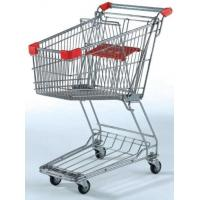 China Unfolding Metal Wire Supermarket Shopping Cart  , Asia Style 4 Wheeled Shopping Trolley on sale