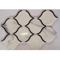 Quality Black Marble Stone And Glass Mosaic Tiles Sheets , Glass Mosaic Kitchen Tiles Floor Pattern wholesale