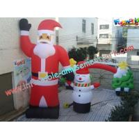 Quality UV-Treated PVC , Coated Nylon Inflatable Christmas Decorations Santa Claus For Outdoor wholesale