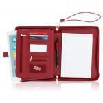 Quality Women's Leather Portfolio Folder , Red Faux Leather Business Folio Binder Organizer wholesale