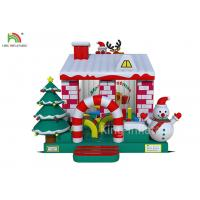 Quality Red / White Color Inflatable Bouncy Castle House With Christmas Tree For Business wholesale