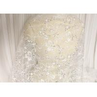 Quality White Floral Embroidery Corded Lace Fabric With Beads And Sequins For Wedding Dress wholesale