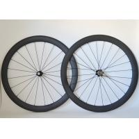 Quality T700 Road Bike Carbon Cycling Wheels 20 / 24 Spoke Holes And Basalt Brake Surface wholesale