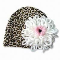 China Fashionable Baby Hat with Flower, Made of Polyester and Cotton, Available in Various Colors on sale