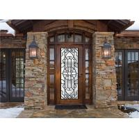 Quality Scroll Work Filled Wrought Iron Glass Door , Single Iron Doors Maintenance Free wholesale