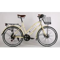 Quality CE standard steel  24/26 inch London style city bike with basket, shimano 6/7 speed and Cowhide seat wholesale