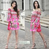 Quality straples printed women dress with balloon sleeve national dresses wholesale