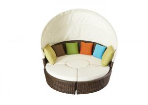 Quality Patio Round Shaped Canopy Type Rattan Outdoor Sunbed wholesale