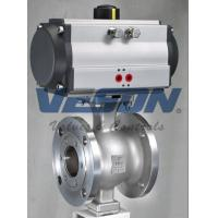 Quality V Port 150# Flanged Pneumatic Ball Valve Via Stainless Steel Bracket And Coupling wholesale