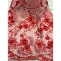 China Red 3D Flower Embroidered Tulle Lace Fabric / Wedding Dresses Sequins Beaded Lace on sale