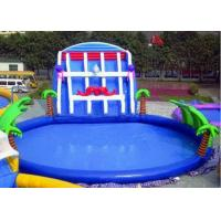 China Palm Tree Inflatable Swimming Pools With Slide , Inflatable Above Ground Swimming Pools on sale