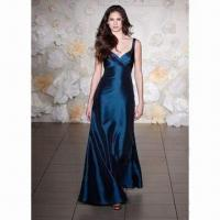 China Elegant Evening Dress with Plunging Neckline, Empire Waist and Gorgeous Twisted Bodice on sale