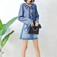 Quality Fashion Ruffle Tie Denim Blouses And Tops , Women