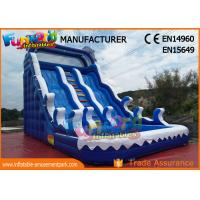 Quality Fire Retardant Outdoor Inflatable Water Slides / Double Lane Slip And Slide wholesale