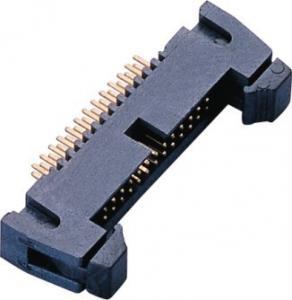 Quality 1.27mm 2*13P DIP Latch Header PA9T Black GF UL94V-0 AU Sn over Ni wholesale
