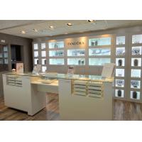 Quality Customized Logo High Wall Display Cabinets / Jewelry Display Cases Beige Color wholesale