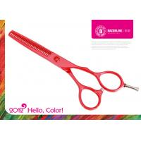 China Red Teflon Coating Stainless Steel Hair Thinning Scissors With Convex edge on sale