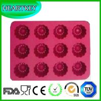 Cheap 12-Cavity Flower Shaped Silicone Cake Pan Soap Mould Muffin Baking Tray Fondant Mold for sale