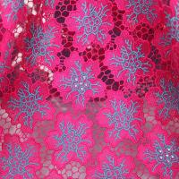 Quality Fushia pink and blue nigerian lace fabrics 2015 / embroidered water soluble lace fabric wholesale