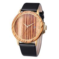 Quality Classic Design Genuine Leather Strap Wrist Watch Ladies Wooden Watches Men wholesale