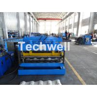Quality Metal Glazed Wave Tile Roll Forming Machine With Welded Wall Plate Frame and Chain Drive wholesale