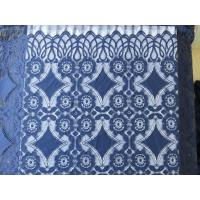China Beautiful Deep Blue Geometric Cotton Nylon Stretch Lace Fabric / Lace Curtain Fabric on sale