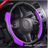 Quality hot sell purple super fiber leather special design auto steering wheel cover car interior decoration wholesale