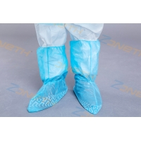 China Anti Slip Blue 35GSM Disposable Plastic Boot Covers on sale