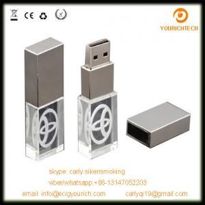 China 3D laser engraved glow cheap custom metal crystal usb flash drive on sale