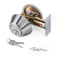 China High Security SUS304 Single Cylinder Deadbolt Door Locks Plated Nickel Finish on sale