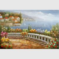 Quality Coastline Mediterranean Oil Painting Italy Landscape Oil Painting For Wall Decor wholesale