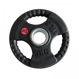Quality Black Gym Fitness Workout Accessories / Fixed Rubber Weight Plate For Body Building wholesale