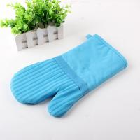 Quality Sky Blue Cotton Heat Resistant Oven Gloves With Stripe , Silicone Coated wholesale
