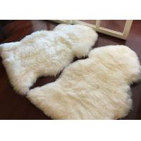 Quality Living Room Soft White Fur Floor Rug , Smooth Wool Sheepskin Car Seat Covers  wholesale