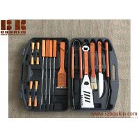 Cheap Barbecue Set with Wooden Handles in Carrying Case, Barbecue Grill Set, Outdoor Grill Set for sale