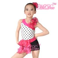 Quality Children'S Dance Costumes Black Polka Dots Top Biketard Ballet Dance Costume wholesale