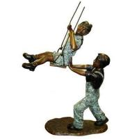 China Art Deco Bronze Children Playing Sand Sculpture on sale