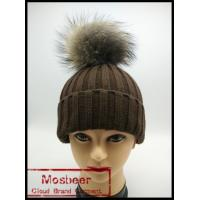 Quality Winter Lady Knit Beanie Hat With Real Raccoon Fur ball wholesale