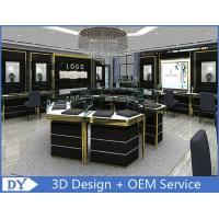 Cheap Custom Made Mirror Black Glass Jewelry Display Cases / Retail Jewellery Display Cabinets for sale