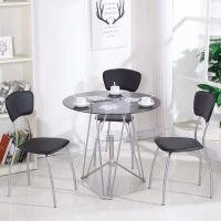 China Round Dining room tables modern dining table coffee.meeting room.Library Table with tempered glass and metal tube leg on sale