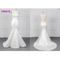Cheap Micado A Line Halter White Mermaid Wedding Dress Spring Modern Bridal Wear for sale