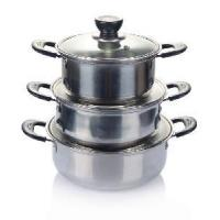 Quality 3PCS Stainless Steel Soup Pot with Glass Cover wholesale